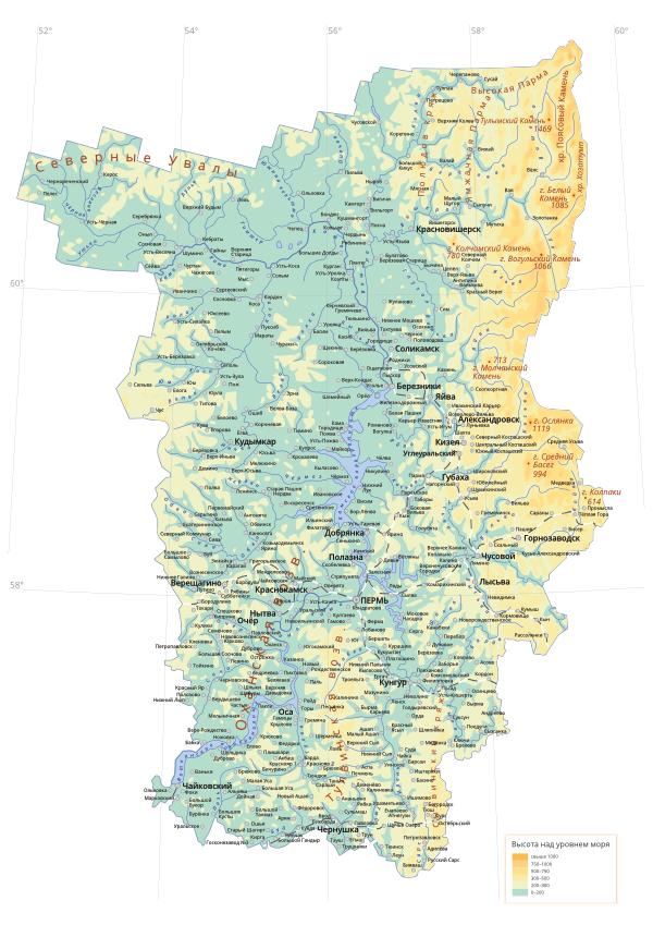 карта Пермского края